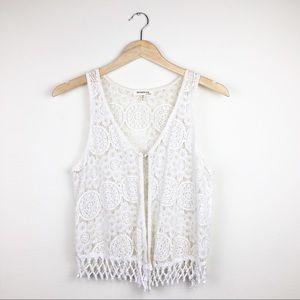 Monteau Festival One Button Fringe Crochet Vest L